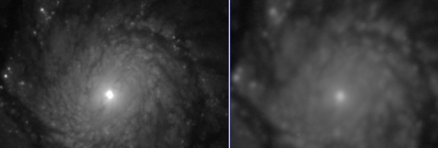 Comparison of the image quality of a J-PAS Pathfinder coadded image of M51, resulting from the combination of 6x10s single exposures with no filter (left), and a g band image from SDSS (right). The FWHM of the PSF in the Pathfinder's image is ~0.4