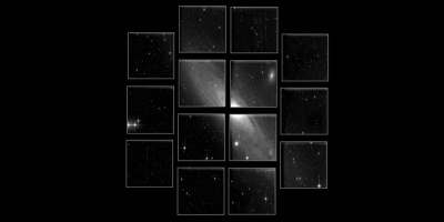 Engineering image obtained during the technical first light of JPCam camera, installed in the JST/T250 telescope at Javalambre Astrophysical Observatory. The image corresponds to a single exposure of 300 seconds in g band. Pre-reduction corrections were only applied (bias and flatfield). Neither cosmetic corrections nor further scientific calibration steps have been implemented. It shows the Andromeda Galaxy (M31), located 2.5 million light years away, and which has an angular diameter in the sky equivalent to seven full moons, being the largest extragalactic object that can be seen in the northern hemisphere. Credit: Centro de Estudios de Física del Cosmos de Aragón (CEFCA).